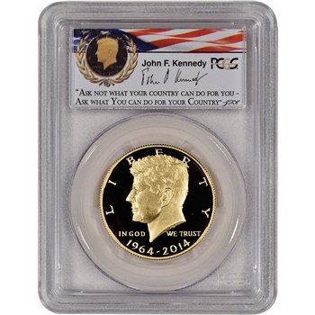 2014-W US Gold 50C Kennedy Proof PCGS PR70 - First Strike - Ask Not