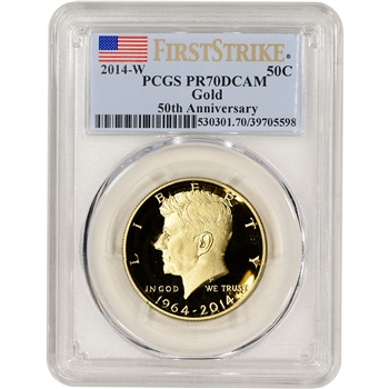 2014 W US Gold Half Dollar Kennedy 50th Proof 50C - PCGS PR70 DCAM First Strike