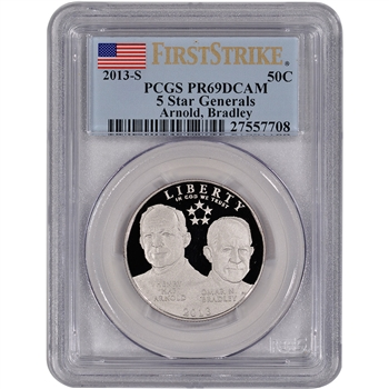 2013-S US 5-Star Generals Commemorative Proof 50C - PCGS PR69 - First Strike