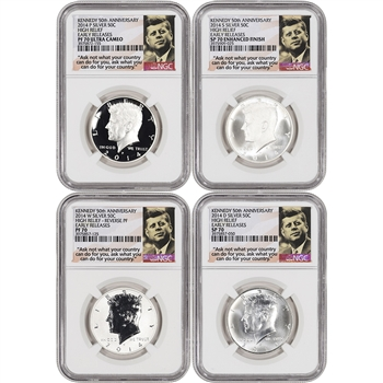 4-pc. 2014 US Kennedy 50th Ann. Silver 50C Set - NGC 70 Early Releases - Ask Not