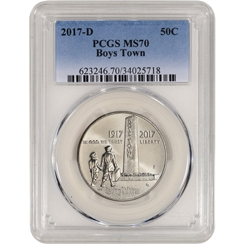 2017-D US Boys Town Commemorative BU Half Dollar - PCGS MS70