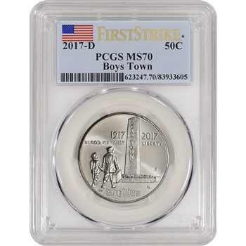 2017-D US Boys Town Commemorative BU Half Dollar - PCGS MS70 First Strike