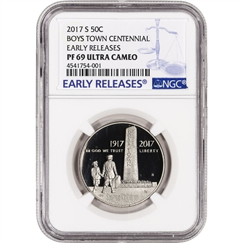 2017-S US Boys Town Commemorative Proof Half Dollar - NGC PF69 Early Releases