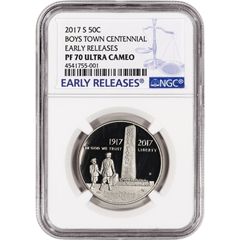 2017-S US Boys Town Commemorative Proof Half Dollar - NGC PF70 Early Releases