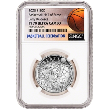 2020-S US Basketball Commem Proof Half Dollar NGC PF70 Early Releases
