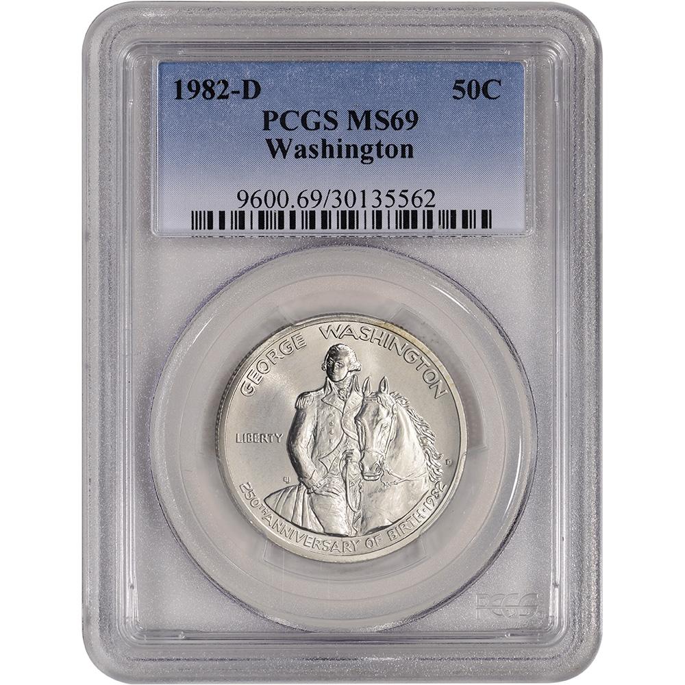 PCGS MS-69 Commemorative 1982-D George Washington Silver Half Dollar