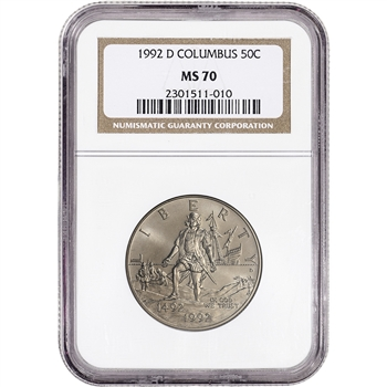 1992-D US Columbus Commemorative BU Half Dollar 50C - NGC MS70