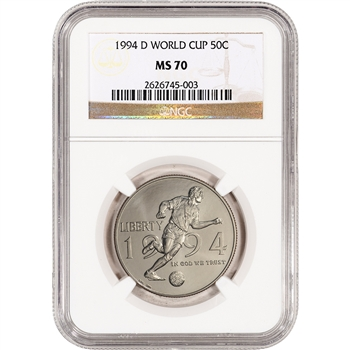 1994-D US World Cup Commemorative BU Half Dollar 50C - NGC MS70
