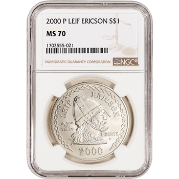 2000-P US Leif Ericson Commemorative BU Silver Dollar - NGC MS70