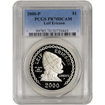 2000-P US Leif Ericson Commemorative Proof Silver Dollar - PCGS PR70 DCAM