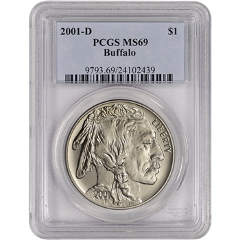 2001-D US American Buffalo Commemorative BU Silver Dollar - PCGS MS69