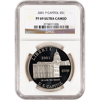 2001-P US Capitol Visitor Center Commem Proof Silver Dollar - NGC PF69UCAM