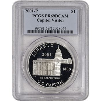 2001-P US Capitol Visitor Center Commem Proof Silver Dollar - PCGS PR69 DCAM