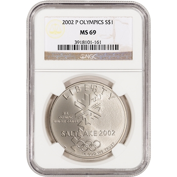 2002-P US Salt Lake City Olympic Commemorative BU Silver Dollar - NGC MS69