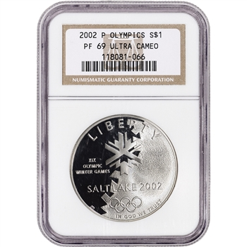 2002-P US Salt Lake City Olympic Commem Proof Silver Dollar - NGC PF69 UCAM
