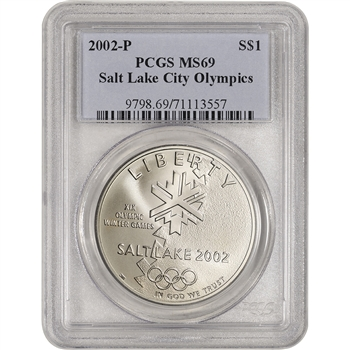 2002-P US Salt Lake City Olympic Commemorative BU Silver Dollar - PCGS MS69