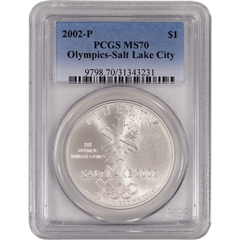 2002-P US Salt Lake City Olympic Commemorative BU Silver Dollar $1 - PCGS MS70