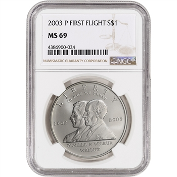 2003-P US First Flight Commemorative BU Silver Dollar - NGC MS69