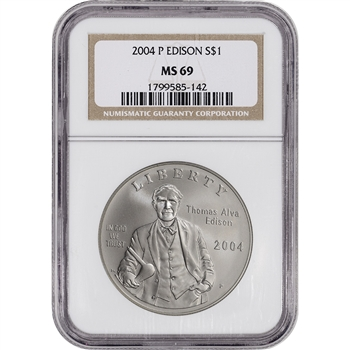 2004-P US Thomas Alva Edison Commemorative BU Silver Dollar - NGC MS69
