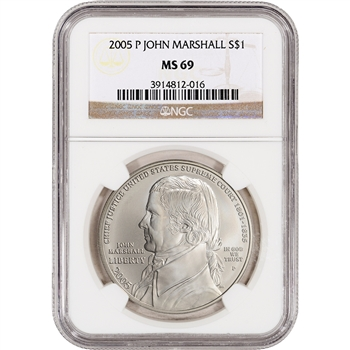 2005-P US Chief Justice John Marshall Commemorative BU Silver Dollar - NGC MS69