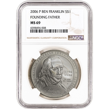 2006-P US Benjamin Franklin Founding Father Commem BU Silver Dollar - NGC MS69