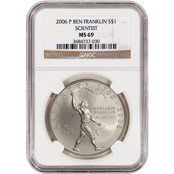 2006-P US Benjamin Franklin Scientist Commemorative BU Silver Dollar - NGC MS69