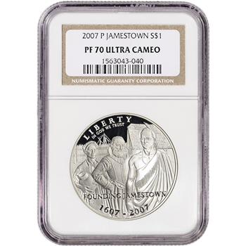 2007-P US Jamestown Commemorative Proof Silver Dollar - NGC PF70 UCAM