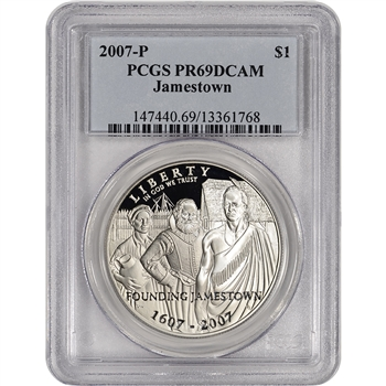 2007-P US Jamestown Commemorative Proof Silver Dollar - PCGS PR69 DCAM