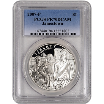 2007-P US Jamestown Commemorative Proof Silver Dollar - PCGS PR70 DCAM