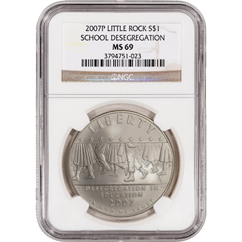 2007-P US Little Rock Desegregation Commem BU Silver Dollar - NGC MS69