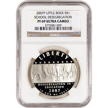 2007-P US Little Rock Desegregation Commem Proof Silver Dollar - NGC PF69UCAM