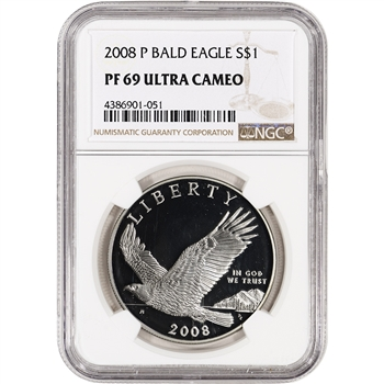 2008-P US Bald Eagle Commemorative Proof Silver Dollar - NGC PF69 UCAM