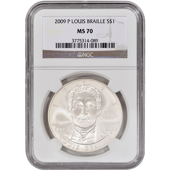 2009-P US Louis Braille Commemorative BU Silver Dollar - NGC MS70