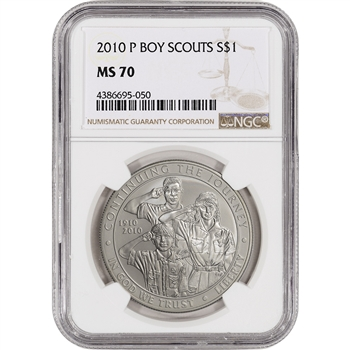 2010-P US Boy Scouts of America Commemorative BU Silver Dollar - NGC MS70
