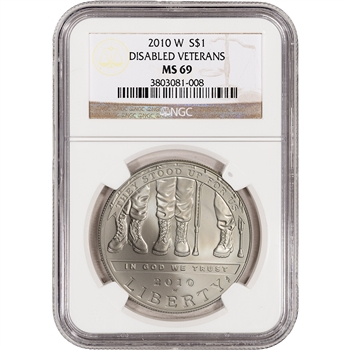 2010-W US Veterans Disabled for Life Commem BU Silver Dollar - NGC MS69