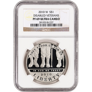2010-W US Veterans Disabled for Life Commem Proof Silver Dollar - NGC PF69UCAM