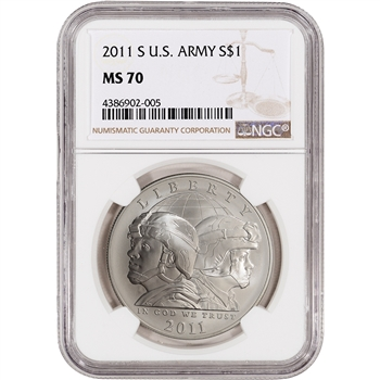 2011-S US Army Commemorative BU Silver Dollar - NGC MS70