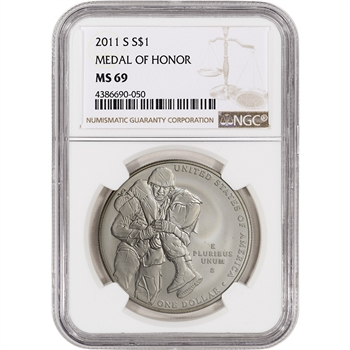 2011-S US Medal of Honor Commemorative BU Silver Dollar - NGC MS69
