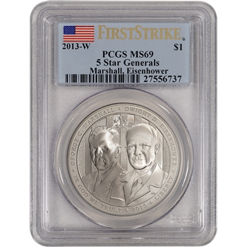 2013-W US 5-Star Generals Commemorative BU Silver $1 - PCGS MS69 - First Strike