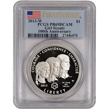 2013-W Girl Scouts Commemorative Proof Silver $1 - PCGS PR69DCAM - First Strike