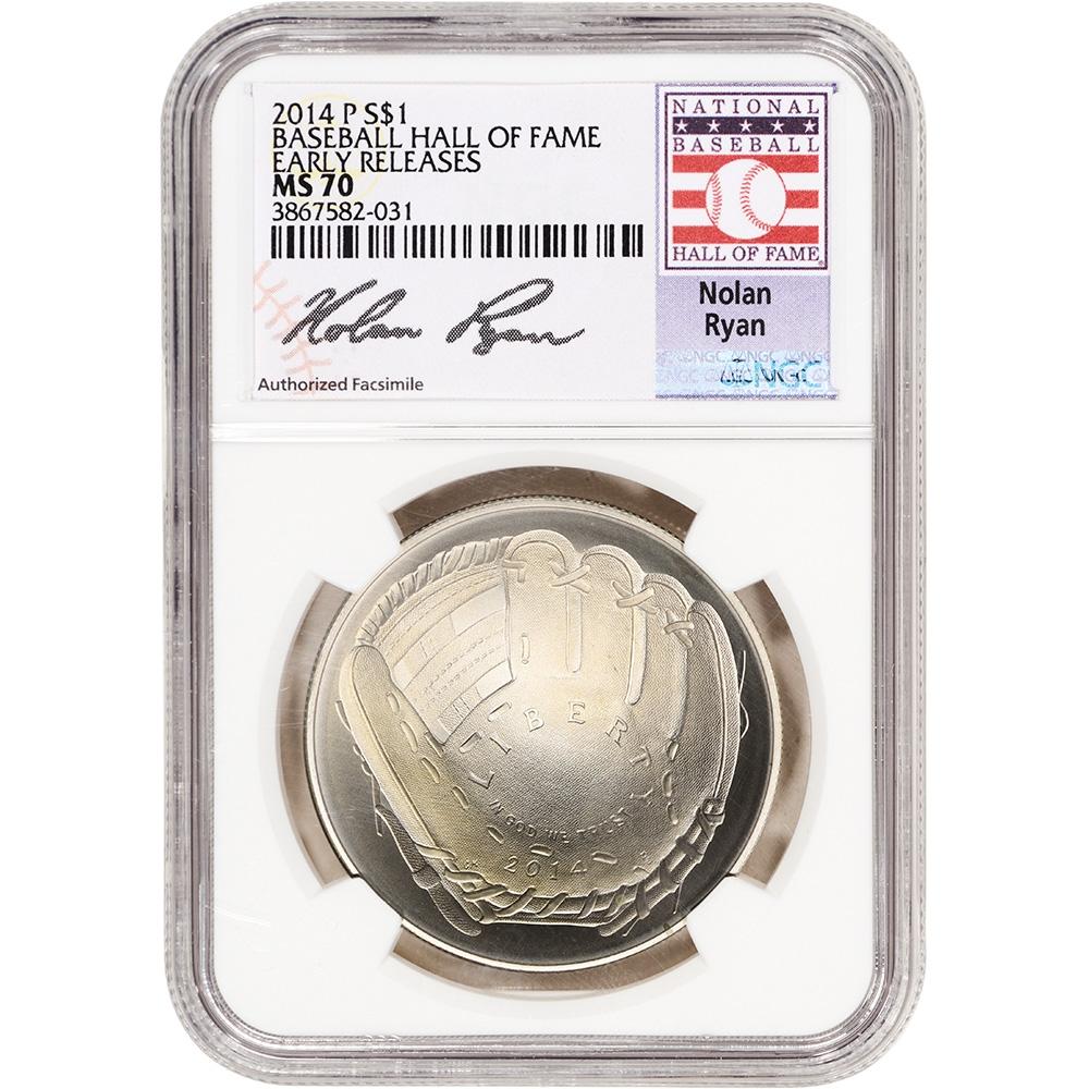 2014-P US National Baseball Hall of Fame Commemorative BU Silver Dollar $1
