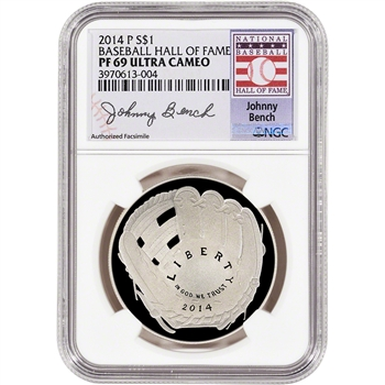 2014-P US Baseball Proof Silver $1 - NGC PF69 - HOF Label - Johnny Bench