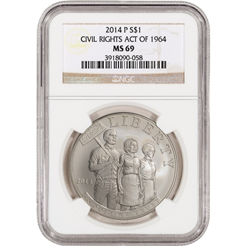 2014-P US Civil Rights Commemorative BU Silver $1 - NGC MS69