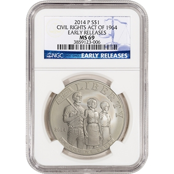 2014-P US Civil Rights Commemorative BU Silver $1 - NGC MS69 - Early Releases
