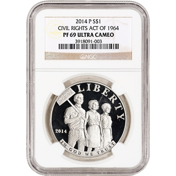 2014-P US Civil Rights Act Commemorative Proof Silver $1 - NGC PF69 UCAM