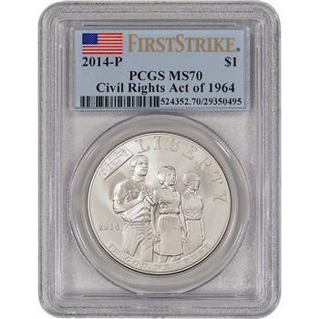 2014-P US Civil Rights Commemorative BU Silver $1 - PCGS MS70 - First Strike