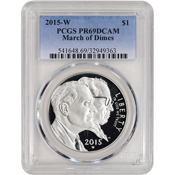 2015-W US March of Dimes Commemorative Proof Silver Dollar - PCGS PR69 DCAM