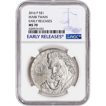2016-P US Mark Twain Commemorative BU Silver Dollar - NGC MS70 - Early Releases