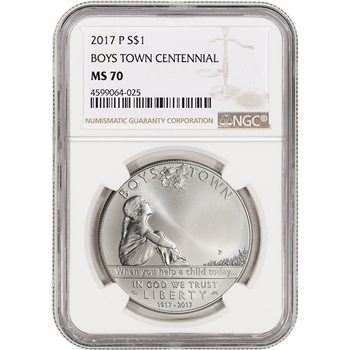 2017-P US Boys Town Commemorative BU Silver Dollar - NGC MS70