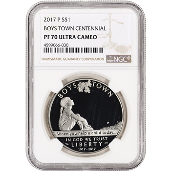 2017-P US Boys Town Commemorative Proof Silver Dollar - NGC PF70 UCAM